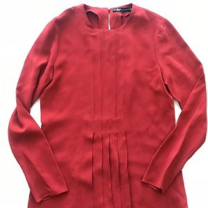 ZARA Red Fit and flare Dress  Medium Long Sleeves